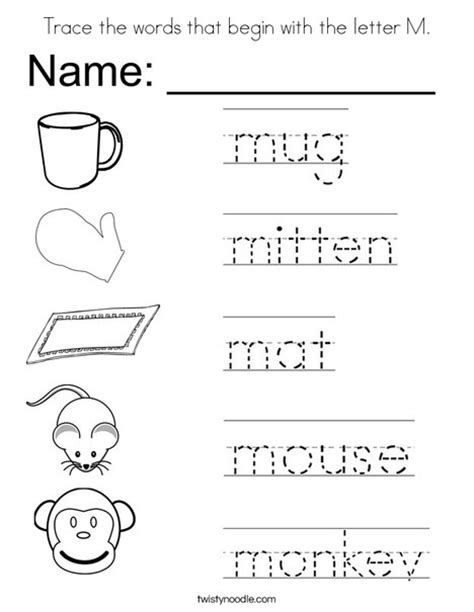 colors that start with i trace the words that begin with the letter m coloring page