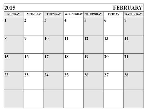 Blank Calendar Template February 2015 search results for free printable calendar feb 2015