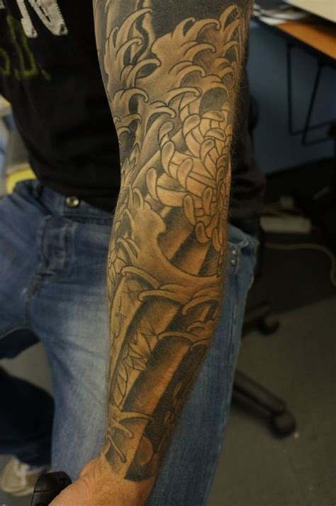 black and grey sleeve tattoos black n grey