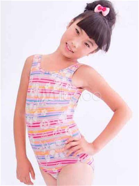 maillot de bain fille 13 ans maillot de bain de fille en polyester multicolore avec rayure et la 231 age milanoo