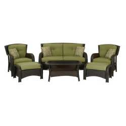 Conversation Set Patio Furniture Shop Hanover Outdoor Furniture Strathmere 6 Wicker Patio Conversation Set At Lowes