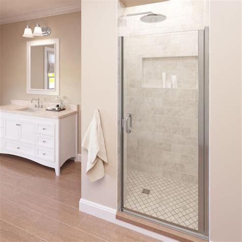 Bosco Shower Doors Basco Infinity 34 In X 72 In Semi Frameless Hinged Shower Door In Silver With Aquaglidexp