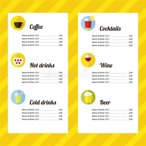 juice menu card templates drink menu template stock vector illustration of