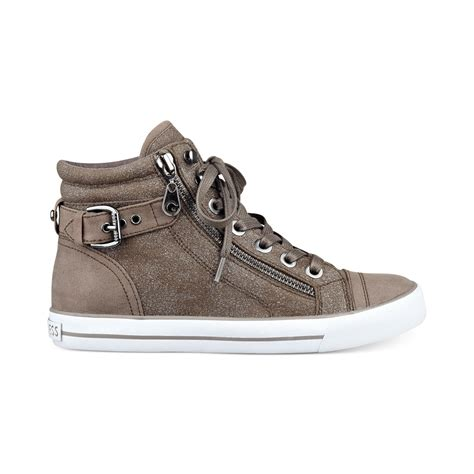 womans high top sneakers g by guess womens olama high top sneakers in gray lyst