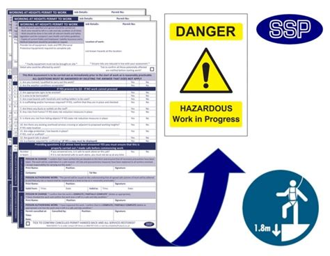 permit to work at height template working at heights permits next day delivery from ssp