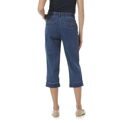 comfort waist capris jaclyn smith women s comfort waist denim capri pants