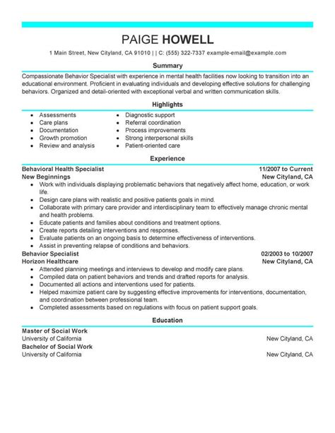 Human Services Specialist Sle Resume by Best Behavior Specialist Resume Exle Livecareer