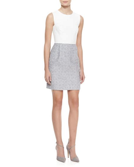 Sleveless Cotton Dress In White Or Grey sleeveless leather tweed dress white