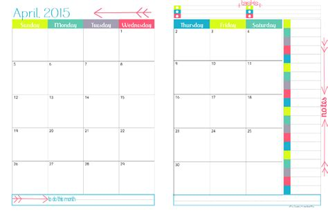 free printable planner 2015 pages 12 best images of 2015 planning calendar printable 2 page