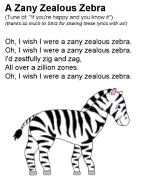 Letter Zebra Lyrics A Zany Zealous Zebra Song