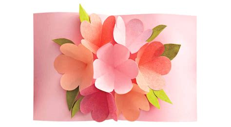 flower bouquet pop up card template diy s day pop up templates and tutorials do it