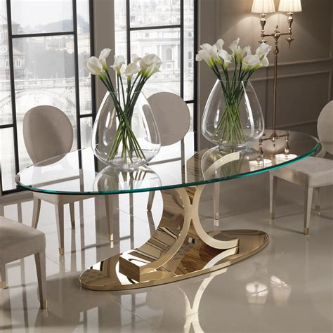 Glass Oval Dining Table And Chairs Designer 24 Carat Gold Plated Oval Glass Dining Set Juliettes Interiors
