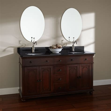 walnut vanity 60 quot trevett double vanity for undermount sinks walnut