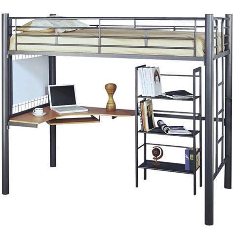 metal loft bed with desk underneath how to make a loft bed with desk for charming result