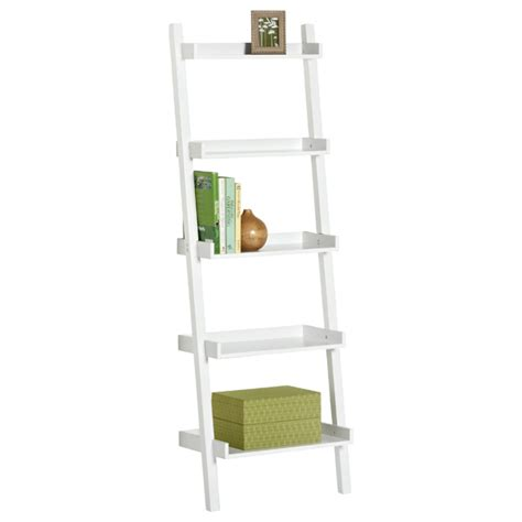 white ladder shelves white linea ladder shelf the container store