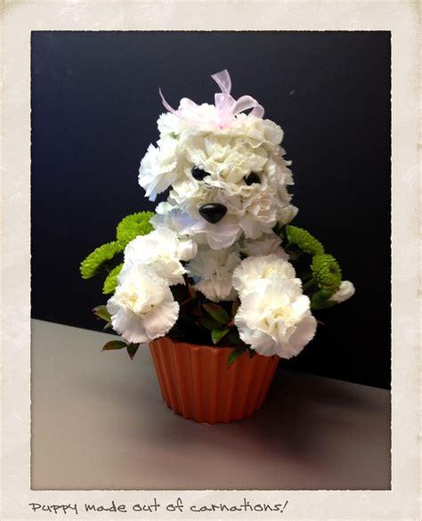 puppy flower arrangement crafts floral arrangements