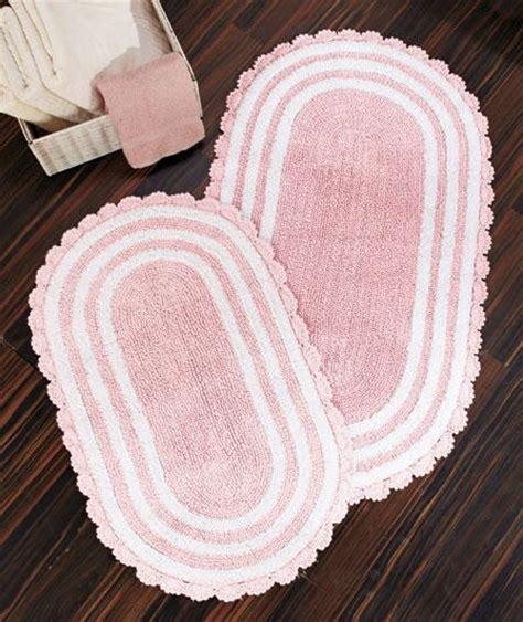 oval cotton bath rugs new reversible crocheted border oval cotton bath rugs 21x34 or 24x40 pastel pink