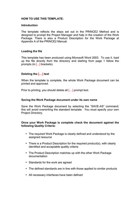 package template work package template in word and pdf formats