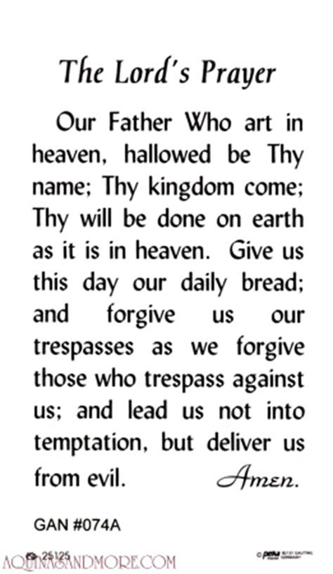Good Earth Garden Center by Our Father Laminated Prayer Card