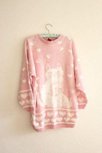 Kawai Sweater Pink sweater vintage jumper cats pink kawaii wheretoget