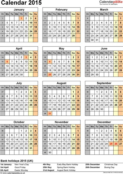 printable calendar 2015 with uk holidays calendar 2015 uk with bank holidays excel pdf word templates