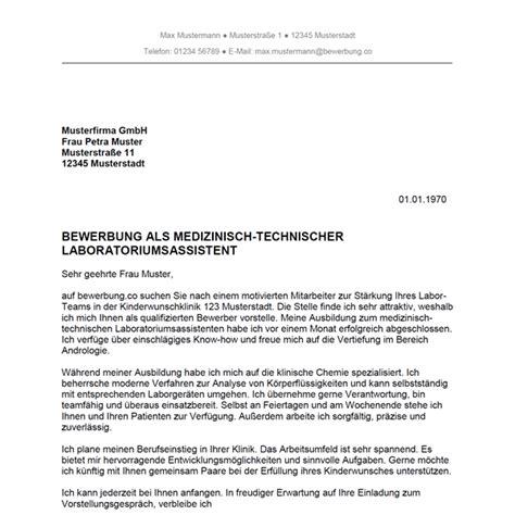 Bewerbung Anschreiben Wissenschaftlicher Mitarbeiter Bewerbung Als Medizinisch Technischer Laboratoriumsassistent Medizinisch Technische