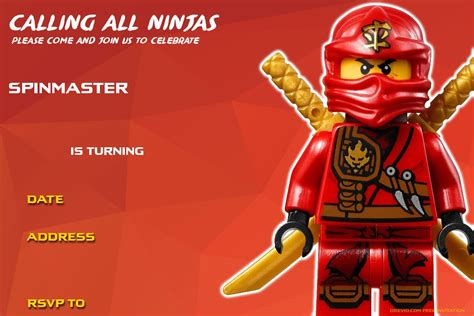 printable naruto birthday invitations free printable lego ninjago birthday invitation lego