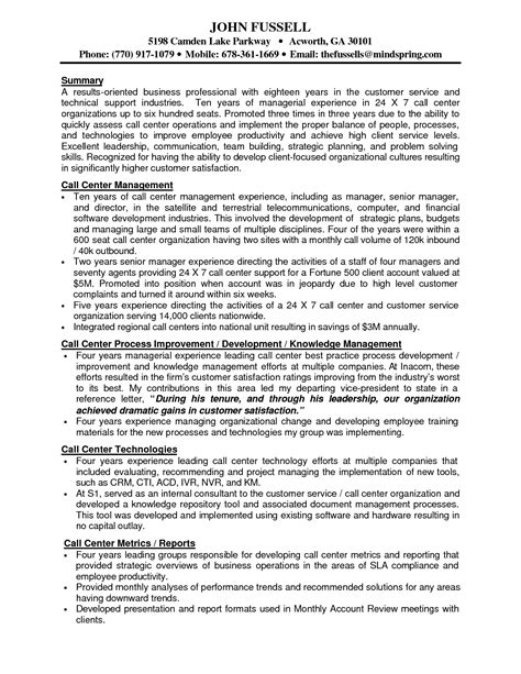 Resume Operations Manager Call Center outbound sales resume