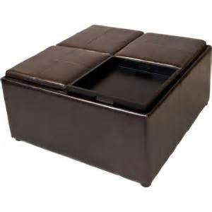 Square Leather Storage Ottoman Coffee Table Deals Simpli Home Avalon Square Faux Leather Coffee Table Storage Ottoman In Brown F 07