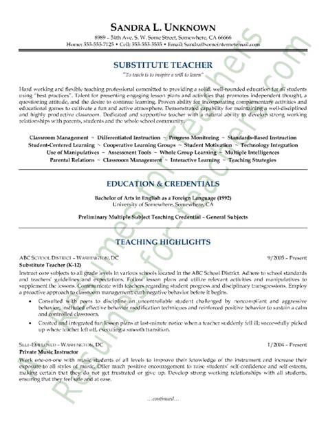 sle resumes sle substitute resume