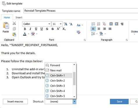 outlook 2007 template shortcut how to use templates in outlook 2016 2013 2007 template