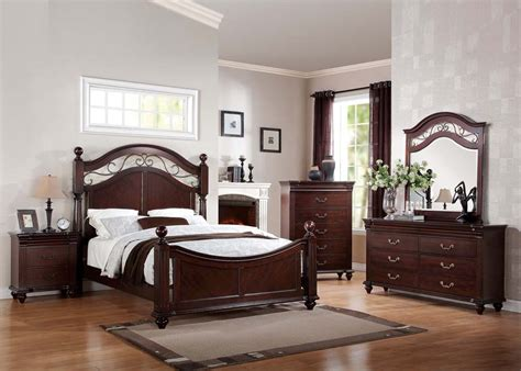 Cherry Wood Bedroom Set | 5 pc cleveland dark cherry wood master bedroom set world