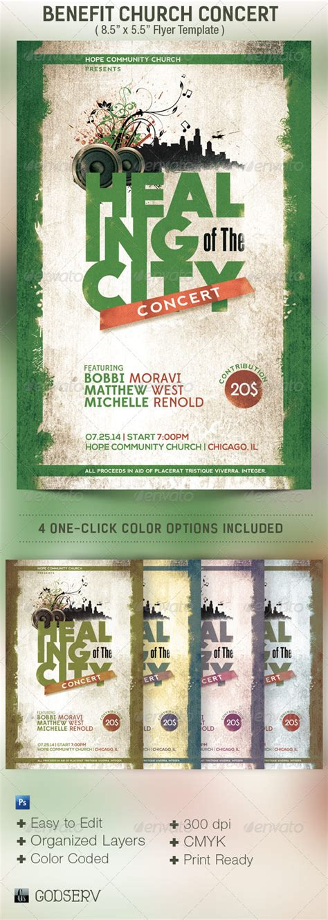 Benefit Concert Church Flyer Template By Godserv Graphicriver Benefit Flyer Template