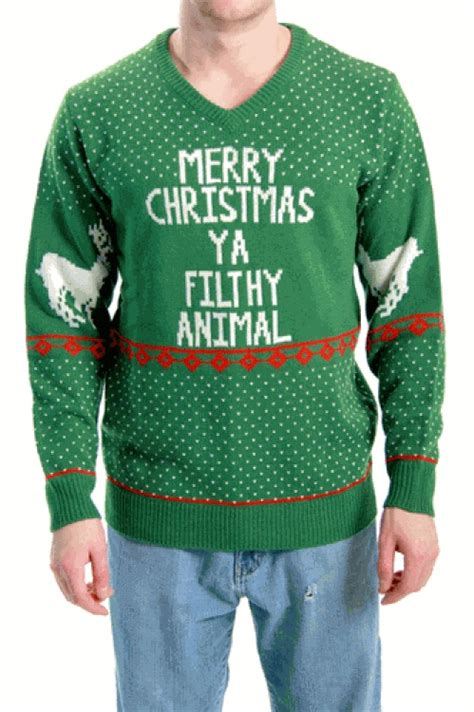 Holiday sweater that reads merry christmas ya filthy animal