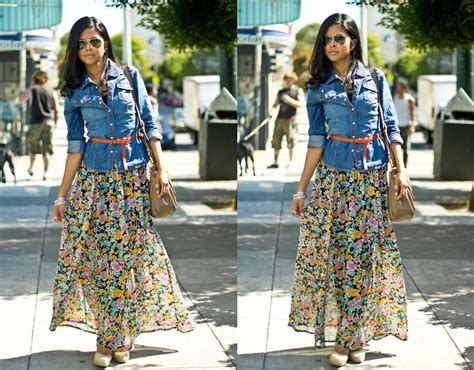 sheryl l h m floral maxi skirt h m denim shirt aldo