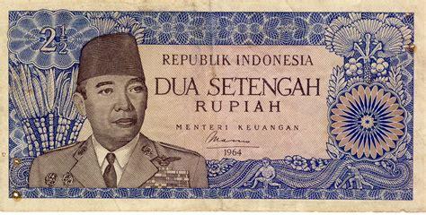Uang Kertas Dua Setengah Rupiah Tahun 1968 uang kertas kuno indonesia nominal rp 2 1 2 dua setengah rupiah bergambar mantan presiden