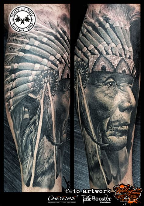 native american sleeve tattoo designs american indian chief ideas