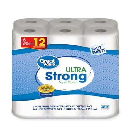 great value ultra strong paper towels, split sheets, 6