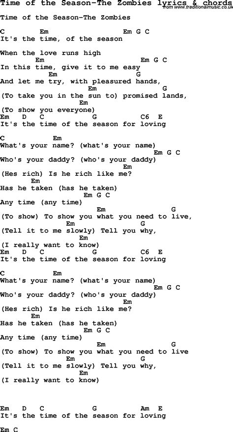 time of the season love song lyrics for time of the season the zombies with