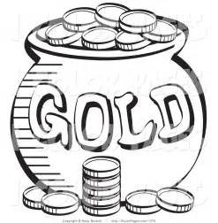 Larger Preview Vector Coloring Page Of A Stack Coins Near Pot  sketch template