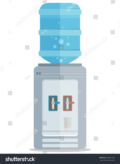Water Dispenser Vector flat vector icon for water cooler gray water cooler with blue bottle and cup 293821250