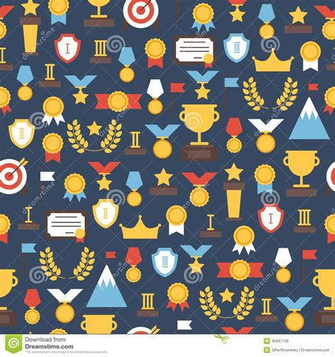 pattern design competition seamless pattern of award icons vector colorful stock