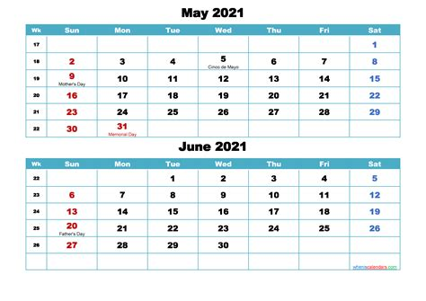 printable calendar   june  word