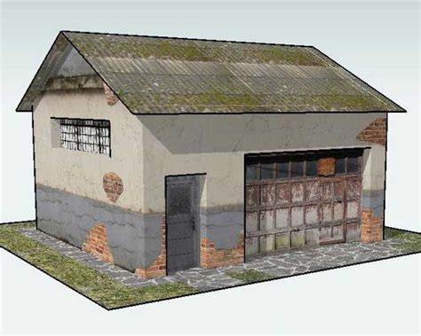 printable diorama buildings one more old garage for diorama free building paper model