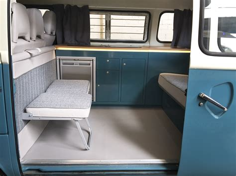 vw bay window interior vw t2 custom design interior in vw neptune blue and oak
