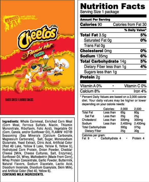 hot chips ingredients cheetos 174 puffs flamin hot 174 reduced fat cheese flavored snacks