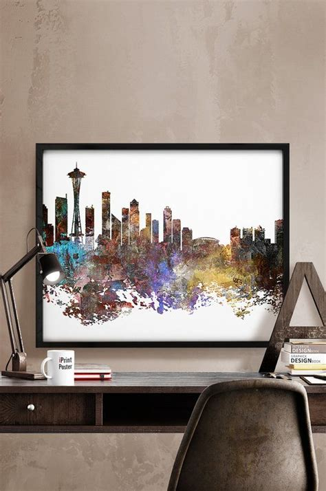 seattle home decor seattle print seattle poster seattle skyline seattle
