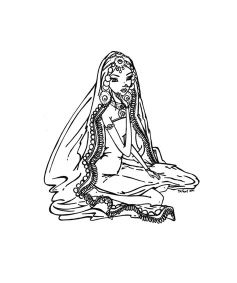 indian bride coloring page indian bride to be by jadedragonne on deviantart