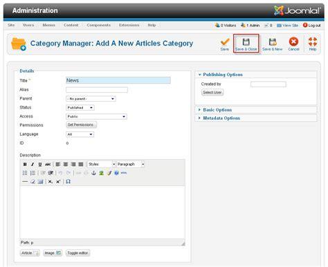 tutorial design joomla how to create a category in joomla 1 7 2 5 joomtut