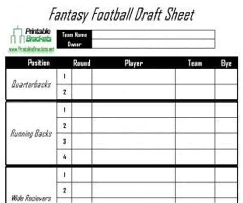 25 best ideas about fantasy football draft sheet on